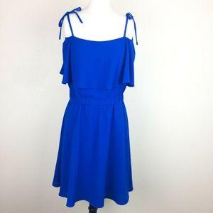 Vince Camuto Short Dress Cobalt Blue Ties Ruffle 8